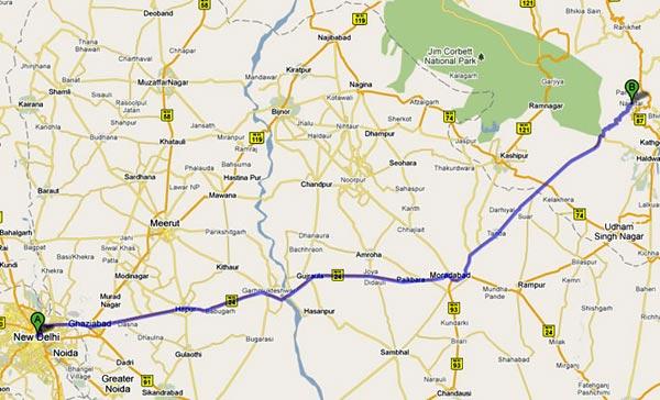 Map how to reach Nainital from New Delhi Alka Lake Side Photos