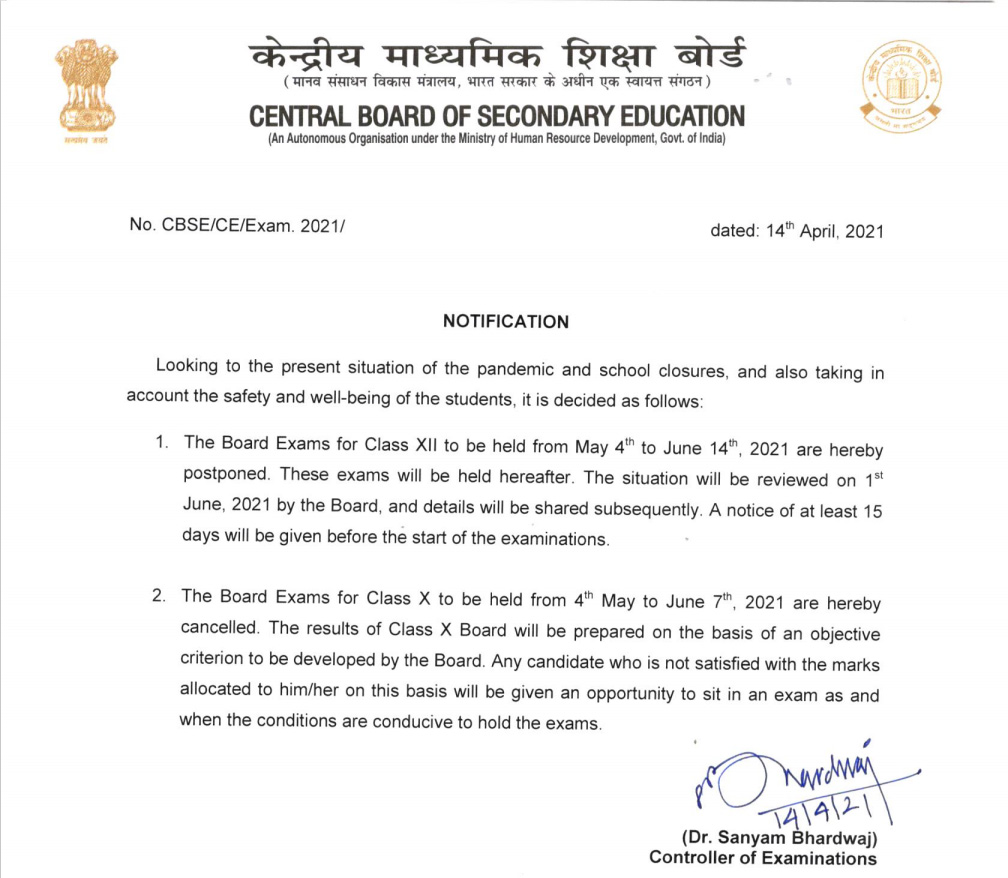 CBSE Class 10 Exams Cancelled, Class 12 Exams Postponed Amidst Rising Covid Cases
