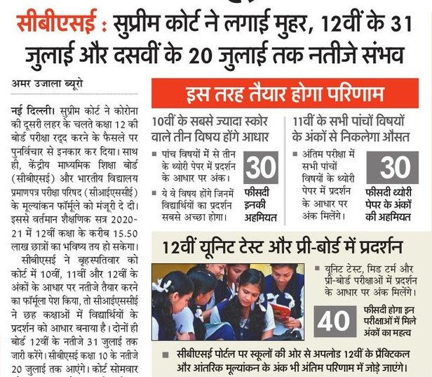 Evaluation Of CBSE Class 12 Result - CBSE 12 Result By 31 July, Class 10 Result By 20 July
