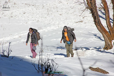 Trekkers during winter trek