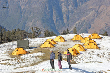 Tents at Kedarkantha Basecamp