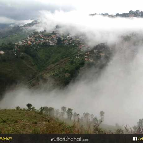 Clouds engulfing Almora city.