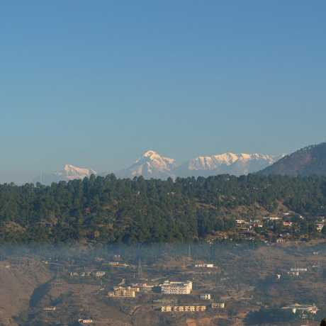 Snow clad view of Almighty Himalayas as seen from Almora..