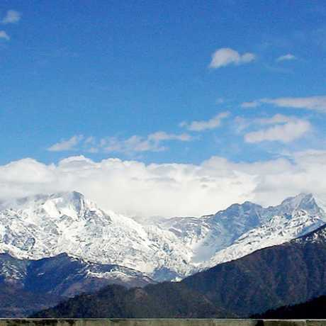 View of snow capped mountains, Taken from Gwaldam to Auli route.