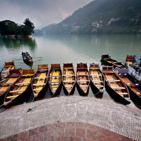 Boat lined for tourists in Bhimtal Lake