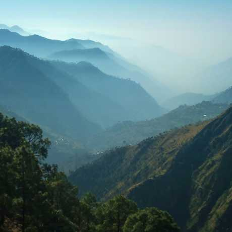 Dense green mountains view from Bhimtal road.