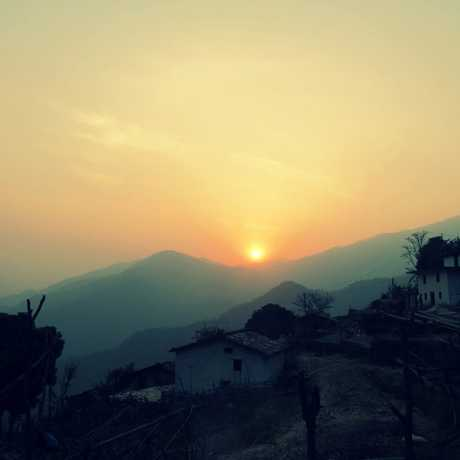 A beautiful view of sun rise from the mountains of Talladesh Tamli, Champawat
