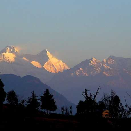 Beautiful view of snow capped mountains with golden sunshine from Chaukori.