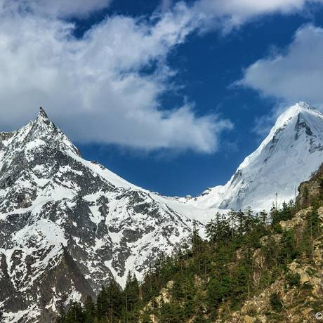 A beautiful view of snow capped mountain peak as seen from Gangotri, Uttarakhand.