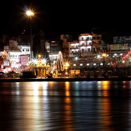 Night view of Har ki Pauri Haridwar, It is a famous ghat on the banks of the Ganges in Haridwar.