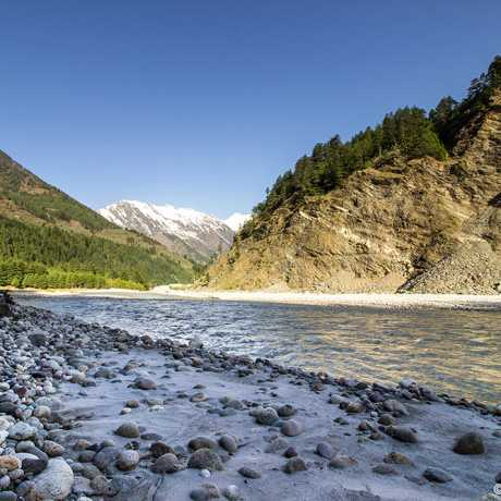 Bhagirathi river flowing through the beautiful Harsil valley.