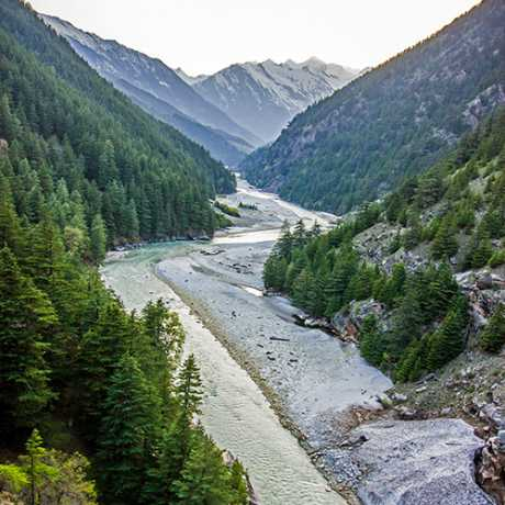 Scenic view of Harsil valley, Uttarkashi also known as the Switzerland of India.