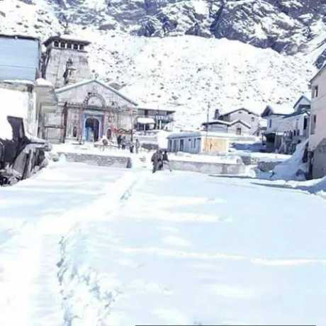 Kedarnath temple after snowfall