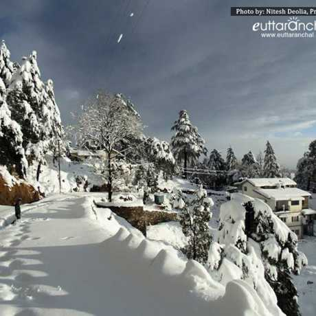 View of Mukteshwar town after heavy snowfall(during winters)