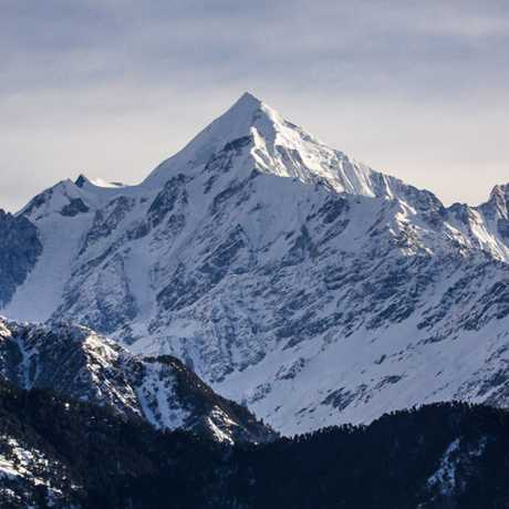View of panchachuli Peaks(6,904 mt.) as seen from Munsiyari. Its a group of five snow-capped Himalayan peaks lying at the end of the eastern Kumaon region.