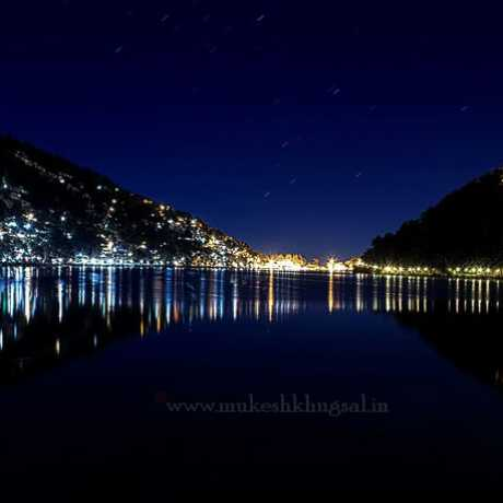 Long exposure view of Naini lake in Nanital.