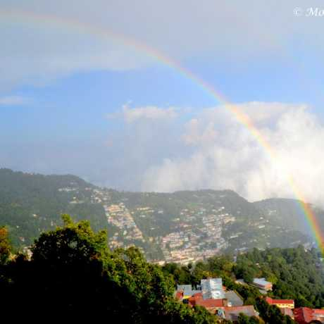 Two rainbows over Nainital Town.