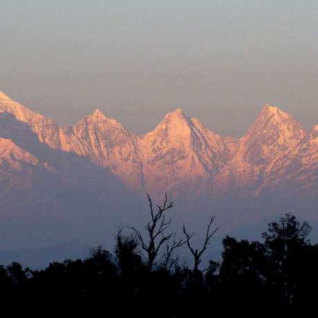Five peaks of majestic Panchchuli massif are blazed during spectacular and mind-blowing sunset as captured from Munsiyari of Kumaon