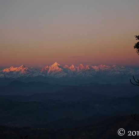 The panchachuli range as seen from Zero Point in Binsar Wildlife Sanctuary