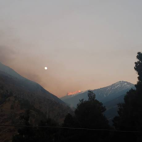 Sunset view over Swargarohini peaks as seen from Sankri village