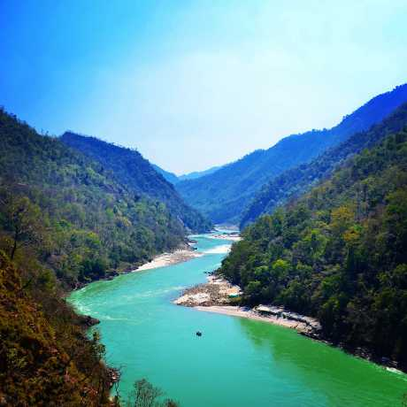 Gangra River flowing through Shivpuri, Rishikesh.