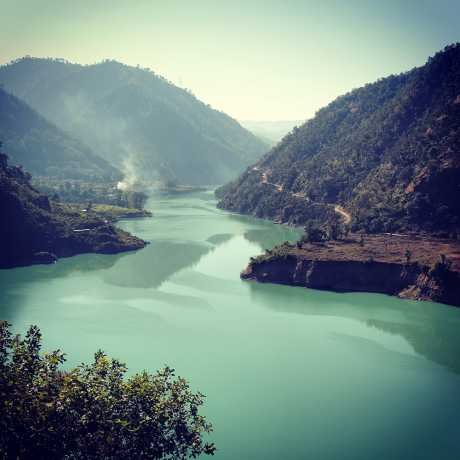 View of Alaknanda river/Srinagar hydro electric project, near dhari devi Srinagar.