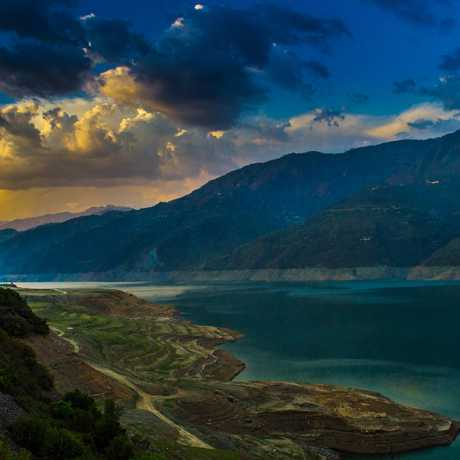 Evening view of Tehri Dam, Tehri Garhwal.