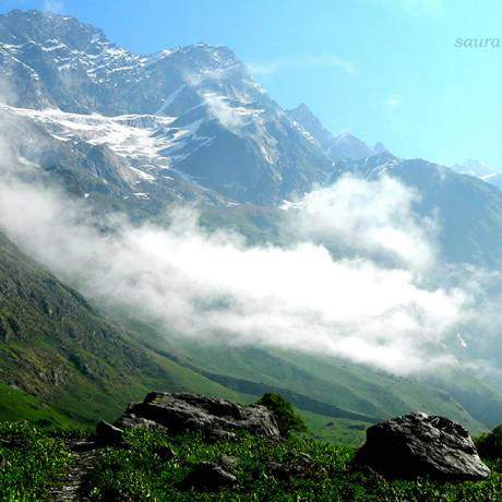 A beautiful veiw of clouds over Valley of Flowers.