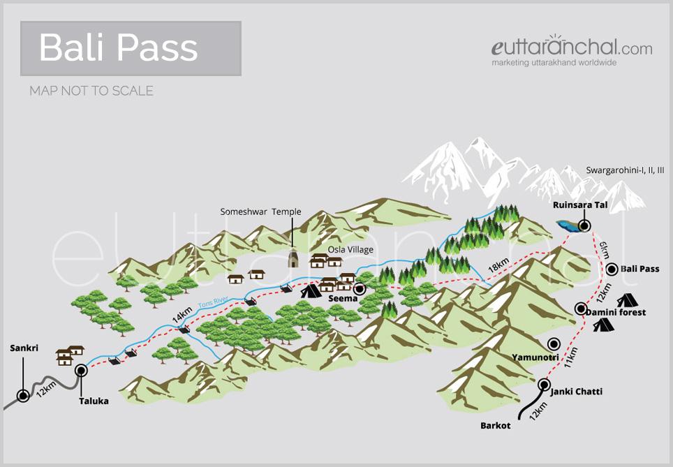 Bali Pass Map Tourist Map Of Bali Pass Uttarakhand