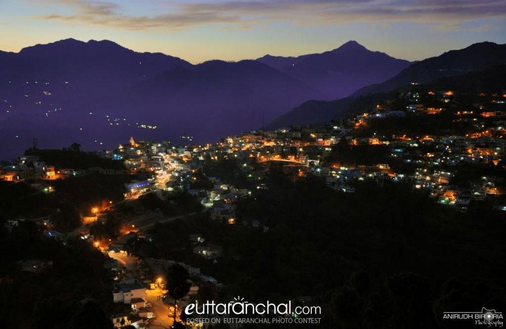 Amazing Night View Of Chamba Town Tehri Garhwal