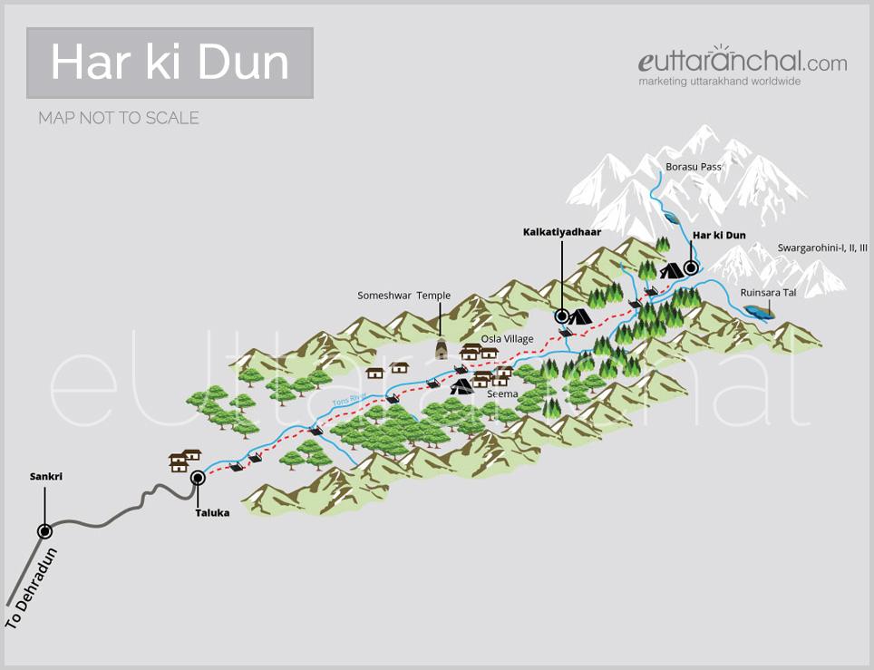 Har ki Dun Trek Tourist Map