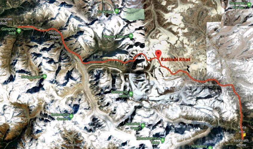 Kalindi Khal Trek Tourist Map