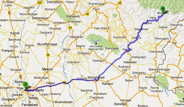 Delhi to Munsiyari Road Route Map