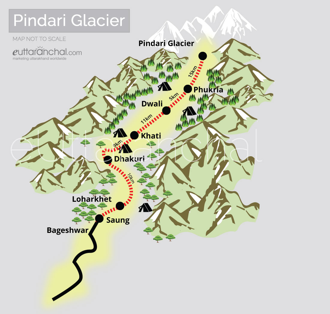 Pindari Glacier Tourist Map