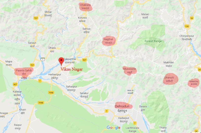 Vikas Nagar Tourist Map